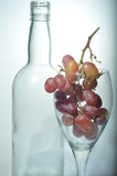 Grapes and an Empty Bottle of Wine. Grapes inside a wine glass which is standing next to an empty bottle of wine.  Signifying the source of wine Stock Photo