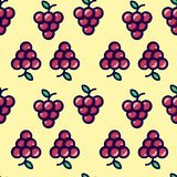 Grapes flat seamless/repeat pattern. Light yellow background. royalty free illustration