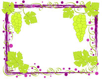 Grapes frame. Green grapes and leaves on grunge frame Stock Photo
