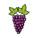 Grapes fresh fruit comic character Royalty Free Stock Photos