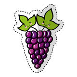 Grapes fresh fruit comic character Royalty Free Stock Images