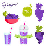 Grapes fruit and juice vector set. Grapes fruit and juice cup to go vector set. Grapes fruit with leaf in bowl Royalty Free Stock Photo