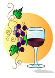 Grapes with glass Royalty Free Stock Photos