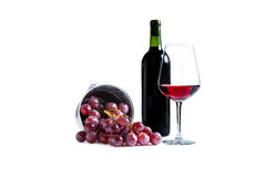 Grapes. With glass of wine isolated on white background Royalty Free Stock Images