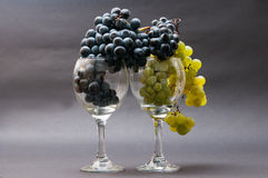 Grapes in glasses stock photography