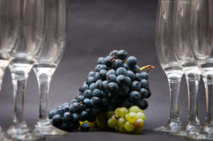 Grapes and glasses Royalty Free Stock Photo