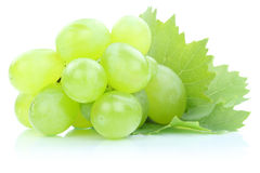 Grapes green fresh fruits fruit leaves isolated on white Stock Image