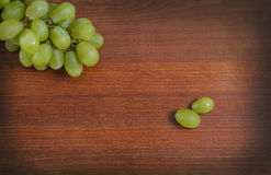 Grapes. Green grape bunch on table Royalty Free Stock Photo