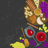Grapes, honey, cheese with glass of wine Stock Photo