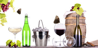 Grapes, ice bucket  with champagne Stock Photo