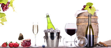 Grapes, ice bucket  with champagne Royalty Free Stock Images