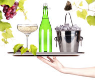 Grapes, ice bucket  with champagne  on a tray Stock Photography