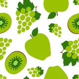 Grapes, kiwi and apple seamless pattern. Green sweet fruits. Fashion design. Food print for dress, textile, curtain or linens. Hand drawn vector sketch royalty free illustration