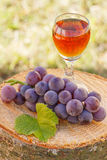 Grapes with leaf and glass of wine on wooden stump in garden. Bunch of fresh grapes with leaf and glass of wine on wooden stump in garden, healthy nutrition Royalty Free Stock Image