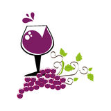 Grapes and leaves with cup wine Stock Photo