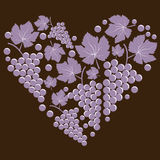 Grapes with leaves in the form of heart Royalty Free Stock Photos