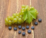 Grapes with leaves Stock Photography