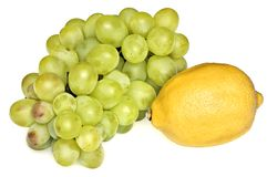 Grapes and lemon Royalty Free Stock Photography