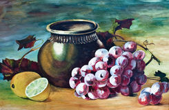Grapes and lemons oil painting Royalty Free Stock Photos