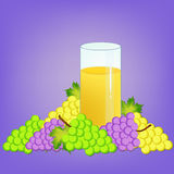 Grapes and nectar. Glass with grape nectar and grapes fruits illustration Stock Images