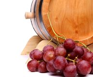 Grapes and old barrel of wine Royalty Free Stock Photo
