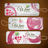 Grapes Or Wine Concept Design. Set Of Stickers Stock Photos