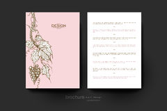 Grapes ornament vector brochure template. Flyer Layout Stock Image