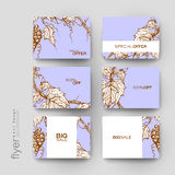 Grapes ornament vector brochure template. Flyer Layout Stock Images