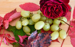 Grapes and other seasonal fruits on the wooden background stock images