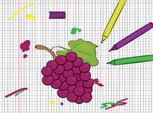 Grapes painted on papper pattern Royalty Free Stock Photo