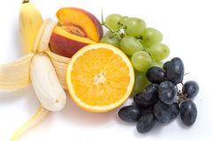 Grapes, peaches, bananas and orange Royalty Free Stock Photo