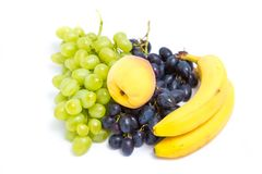 Grapes, peaches and bananas Royalty Free Stock Photography