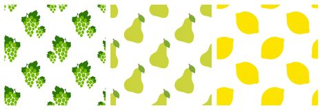 Grapes, pear and lemon. Yellow and green fruit seamless pattern set. Fashion design. Food print for clothes, linens or curtain. Hand drawn vector sketch stock illustration