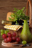 Grapes, pear and wine. Royalty Free Stock Images