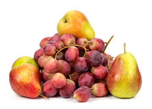 Grapes and pears on a white background Stock Photos