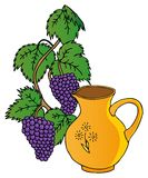 Grapes and pitchers Royalty Free Stock Photography