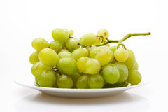 Grapes on a Plate. Some fresh white grapes on a plate, photographed over a white reflective surface royalty free stock photo