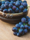 Grapes in plate outdoor. Close up. royalty free stock photography
