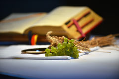 Grapes and prayer book. Royalty Free Stock Image