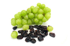 Grapes and raisins royalty free stock photography