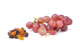 Grapes with raisins isolated on white background Stock Image