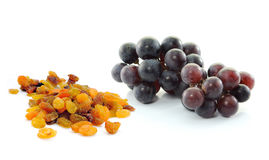 Grapes with raisins  on white background Royalty Free Stock Photography