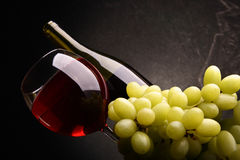 Grapes and red wine Stock Photography