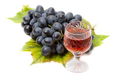 Grapes and red wine Stock Photos