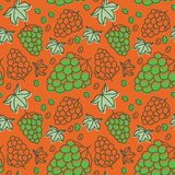 Grapes seamless pattern. Hand drawn fresh berry. Multicolored ve. Ctor sketch background. Colorful doodle wallpaper. Green and orange print Vector Illustration