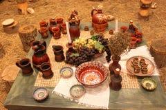 Grapes and set of ceramic Stock Photos