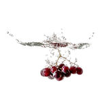 Grapes splash on water, isolated Stock Images