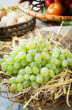 Grapes on a straw bedding. Grapes and eggs on a straw bedding in the wicker plates with wooden and sackcloth background Stock Photography