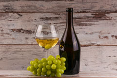Grapes and two glasses of the white wine Stock Photo