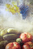 Grapes and vegetables during autumn. Textured Royalty Free Stock Photo